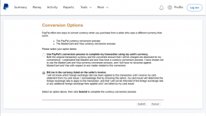 Paypal Conversion options settings in English